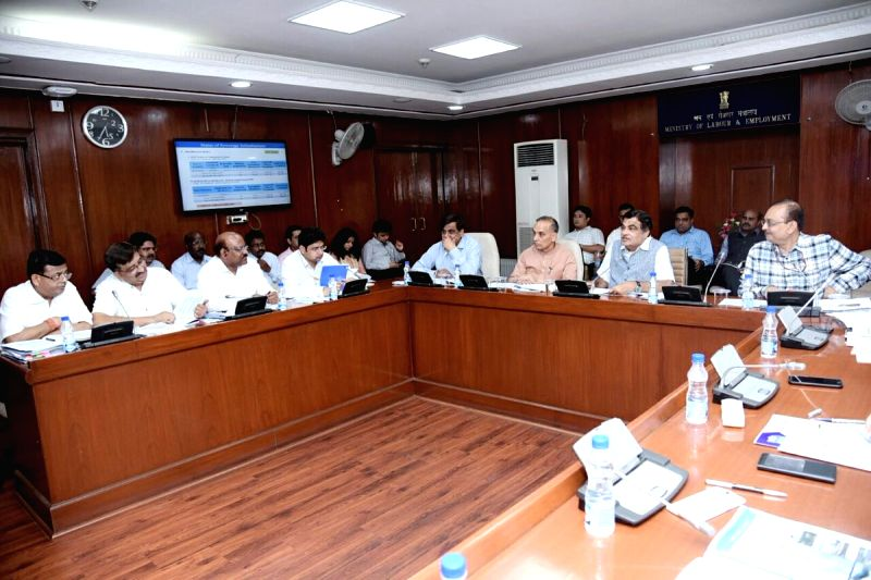 Union Transport Minister Nitin Gadkari addresses during a review meeting on Namami Gange project along with Union MoS HRD Satyapal Singh and others, in New Delhi on July 31, 2018. - Nitin Gadkari and Satyapal Singh