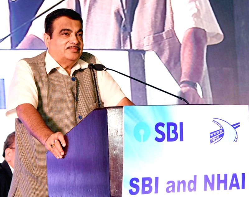 Union Transport Minister Nitin Gadkari addresses at the signing ceremony of an MoU between National Highways Authority of India (NHAI) and State Bank of India (SBI) for long term, ... - Nitin Gadkari