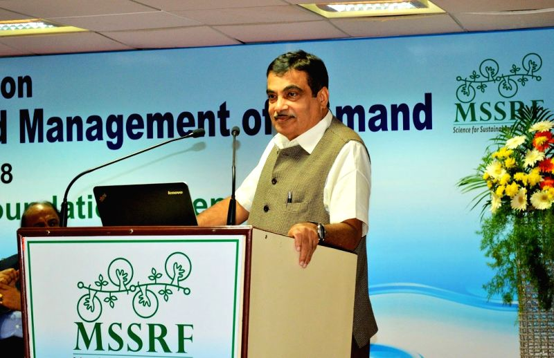 Union Transport Minister Nitin Gadkari addresses during foundation day programme of MS Swaminathan Research Foundation (MSSRF) in Chennai, on Aug 7, 2018. - Nitin Gadkari