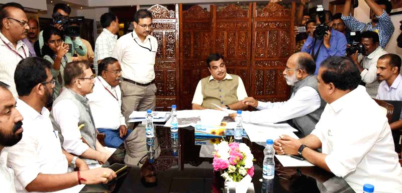 Union Transport Minister Nitin Gadkari and Union MoS Tourism Alphons Kannanthanam during a meeting, in New Delhi, on  Aug 3, 2018 - Nitin Gadkari