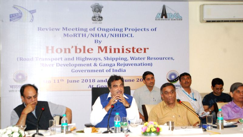 Union Transport Minister Nitin Gadkari reviews the progress of ongoing national highway projects, in Panaji on June 11, 2018. - Nitin Gadkari