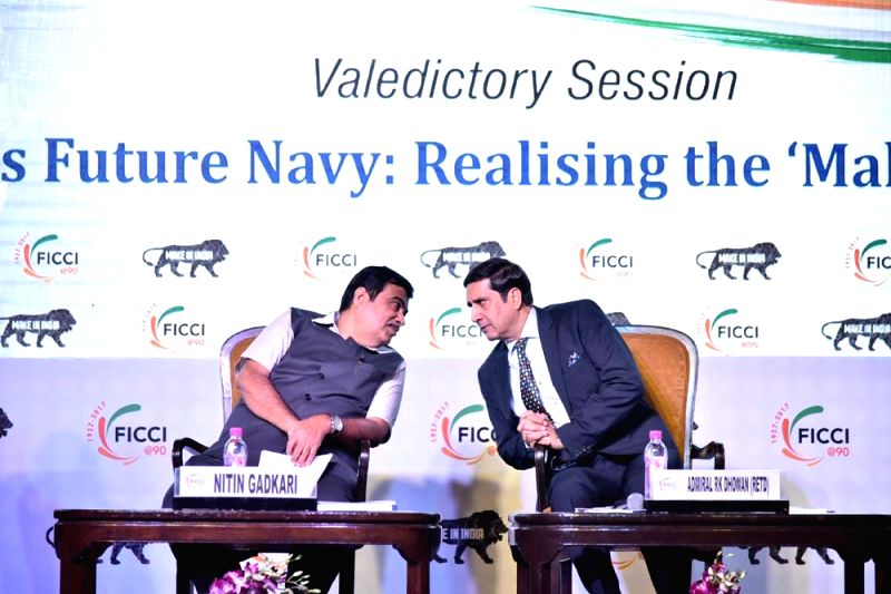 Union Transport Minister Nitin Gadkari with Former Navy Chief RK Dhowan during the Valedictory Session on 'Building India's Future Navy: Realising the 'Make in India' Initiative' ... - Nitin Gadkari