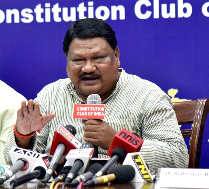 Union Tribal Affairs Minister Jual Oram addresses a press conference on the achievements of the Ministry of Tribal Affairs in the last four years, in New Delhi on June 14, 2018. - Jual Oram