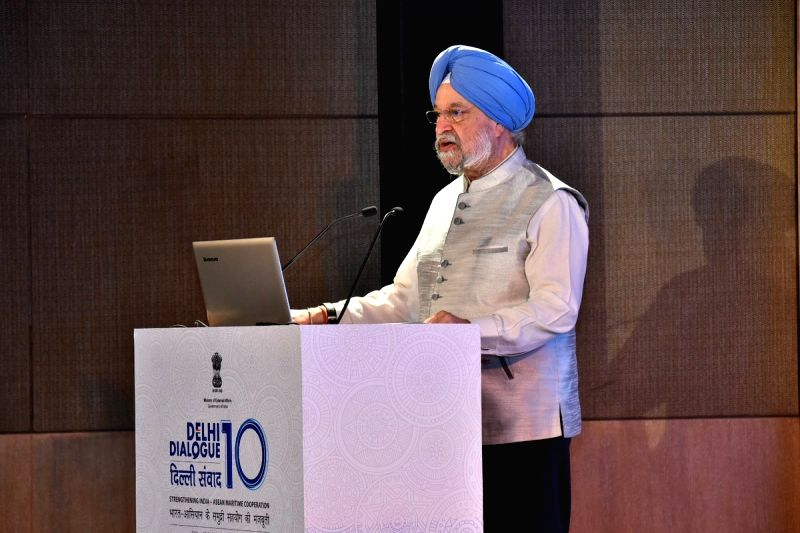 Union Urban Development Minister Hardeep Singh Puri addresses at the Second ASEAN-India workshop on Blue Economy  at the ASEAN-India, in New Delhi, on July 20, 2018. - Hardeep Singh Puri