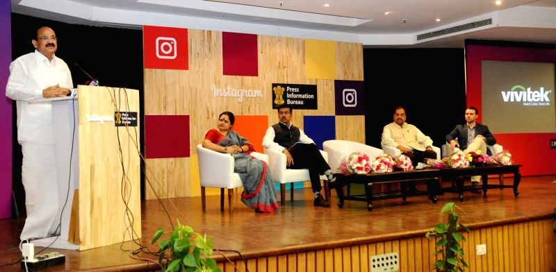 "Union Urban Development Minister M. Venkaiah Naidu addresses at the ""Workshop on Instagram for Government Social Media Communication"", jointly organised by the Social Media Cell, PIB ... - M. Venkaiah Naidu"