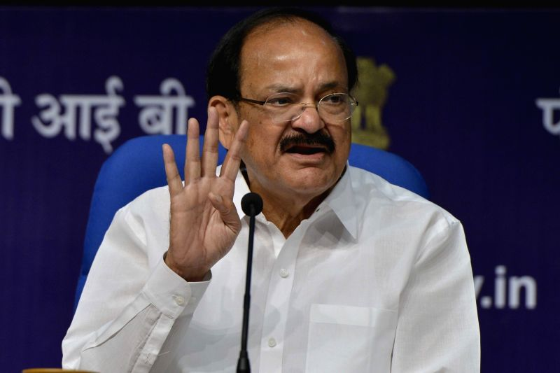 Union Urban Development Minister M. Venkaiah Naidu briefs media on the progress and issues related to ensuring Housing for All in urban areas, in New Delhi on April 20, 2017. Also seen MoS ... - M. Venkaiah Naidu