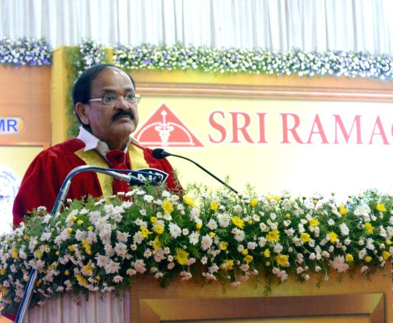 Union Urban Development Minister M. Venkaiah Naidu addresses at the 25th Convocation of Sri Ramachandra University, in Chennai on April 23, 2017. - M. Venkaiah Naidu