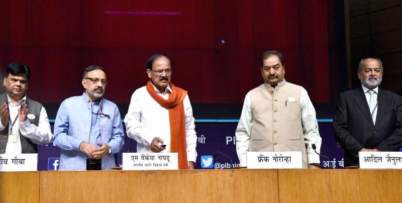 Union Urban Development Minister M. Venkaiah Naidu at Swachh Survekshan – 2017 awards ceremony in New Delhi on May 4, 2017. - M. Venkaiah Naidu