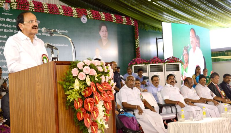 Union Urban Development Minister M. Venkaiah Naidu  addresses at the inauguration of the Chennai Metro Rail from Thirumangalam to Nehru Park, at Thirumangalam Metro Station, Chennai on May ... - M. Venkaiah Naidu