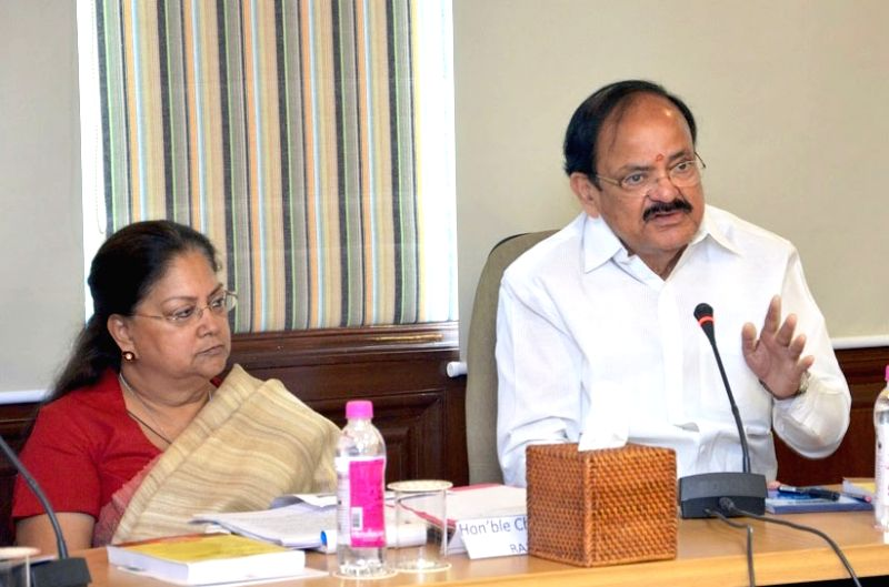 Union Urban Development Minister M. Venkaiah Naidu and Rajasthan Chief Minister Vasundhara Raje Scindia at a meeting to review the progress of Urban Missions, in Jaipur on May 23, 2017. - M. Venkaiah Naidu