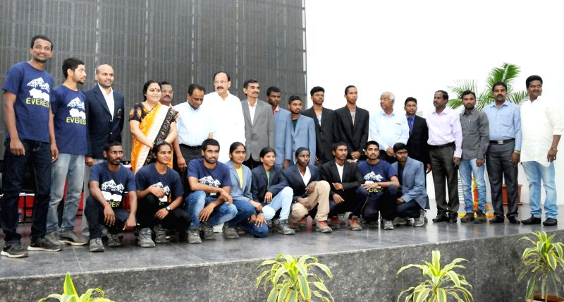 Union Urban Development Minister Venkaiah Naidu with the students who scaled Everest at the inauguration of a free medical camp, organised by the Swarna Bharat Trust, in Hyderabad on June ... - Venkaiah Naidu
