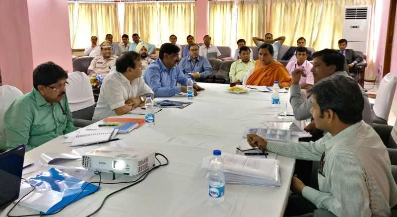 Union Water Minister Uma Bharti during a meeting on Namami Gange with the senior officials of her Ministry and Central Inland Fisheries Research Institute, at Farakka, West Bengal on May ... - Uma Bharti