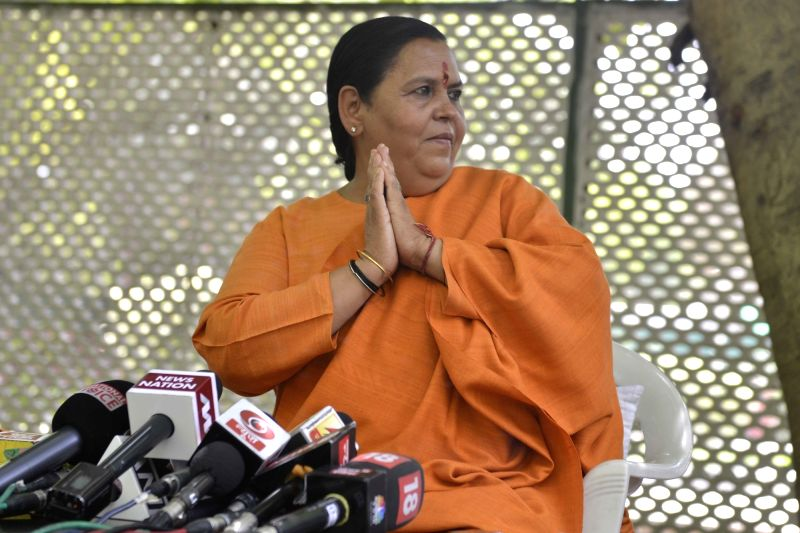 Union Water Resources Minister Uma Bharti addresses a press conference in New Delhi, on April 19, 2017. - Uma Bharti