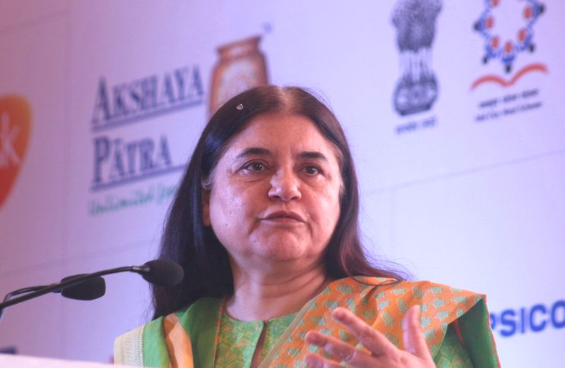 """Union Women and Child Development Minister Maneka Gandhi addresses at the launch of """"Feed The Future""""  in New Delhi, on May 25, 2017. - Maneka Gandhi"""
