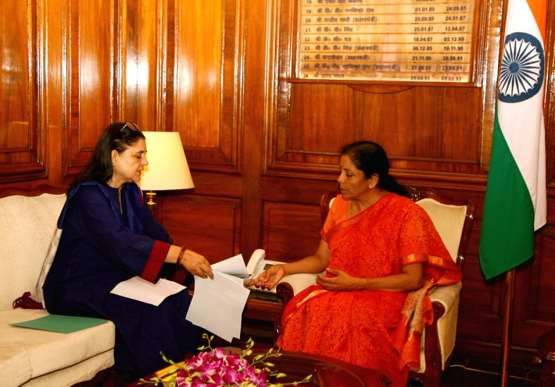 Union Women and Child Development Minister Maneka Gandhi meets Defence Minister Nirmala Sitharaman, in New Delhi on July 12, 2018. - Maneka Gandhi