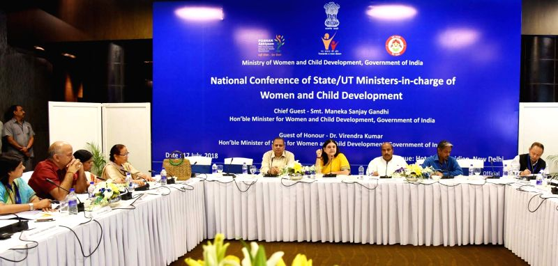 Union Women and Child Development Minister Maneka Sanjay Gandhi at the National Conference of In-Charge of Women and Child Development in States and Union Territories in New ... - Maneka Sanjay Gandhi and Virendra Kumar