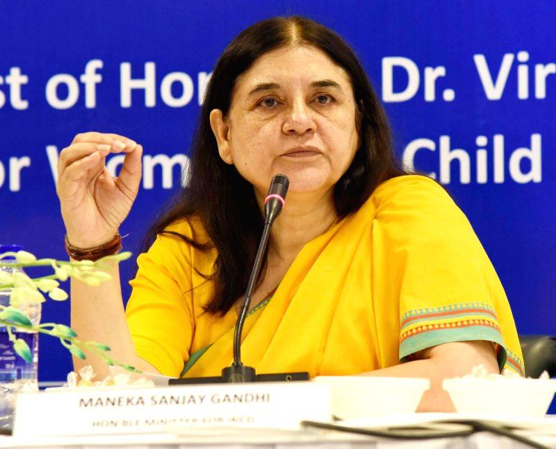 Union Women and Child Development Minister Maneka Sanjay Gandhi addresses at the National Conference of In-Charge of Women and Child Development in States and Union ... - Maneka Sanjay Gandhi