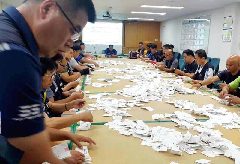 Unionists at Hyundai Motor's plant in Ulsan, 414 kilometers southeast of Seoul, count ballots on July 26, 2018, on a vote over whether to approve the tentatively accepted wage deal with the ...