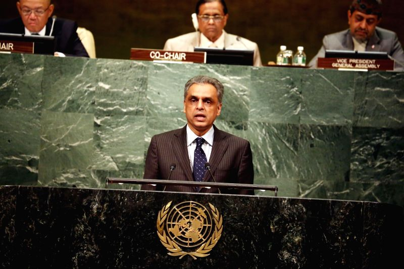 "United Nation: India's Permanent Representative to the UN Syed Akbaruddin addresses at ""VESAK 2017"" at United Nation on May 11, 2017."