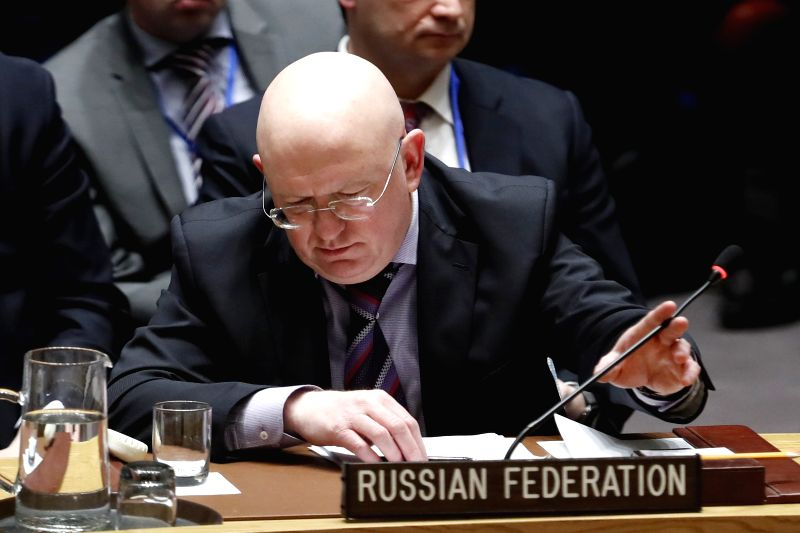 UNITED NATIONS, April 12, 2018 - Photo taken on April 10, 2018 shows Russian Ambassador to the United Nations Vassily Nebenzia pushes the microphone away during a Security Council meeting on Syria at ...