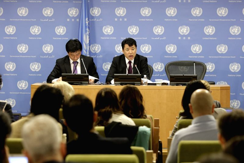UNITED NATIONS, April 17, 2017 - The Democratic People's Republic of Korea (DPRK) ambassador to the United Nations Kim In Ryong (R, Rear) speaks during a press conference at the United Nations ...