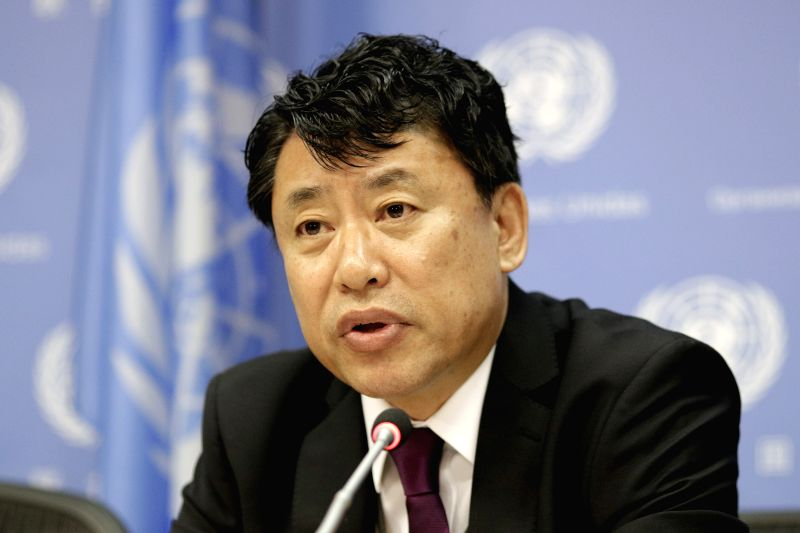 UNITED NATIONS, April 17, 2017 - The Democratic People's Republic of Korea (DPRK) ambassador to the United Nations Kim In Ryong speaks during a press conference at the United Nations headquarters in ...