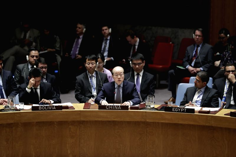 UNITED NATIONS, April 19, 2017 - Liu Jieyi (C, front), China's permanent representative to the UN, addresses a Security Council debate on the topic of maintenance of international peace and security, ...