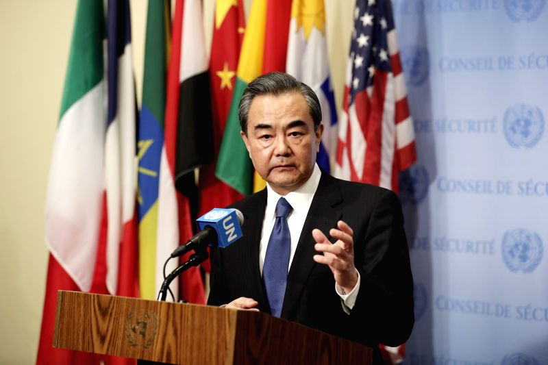 UNITED NATIONS, April 29, 2017 - Chinese Foreign Minister Wang Yi speaks to journalists prior to a ministerial meeting of the UN Security Council on the nuclear issue of the Korean Peninsular, at the ... - Wang Y