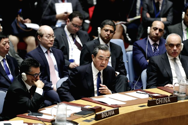 UNITED NATIONS, April 29, 2017 - Chinese Foreign Minister Wang Yi (C F) speaks during a ministerial meeting of the UN Security Council on the nuclear issue of the Korean Peninsular, at the UN ... - Wang Y