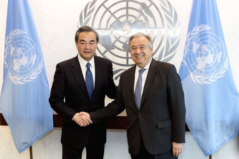 UNITED NATIONS, April 29, 2017 - Chinese Foreign Minister Wang Yi (L) meets with United Nations Secretary-General Antonio Guterres at the UN headquarters in New York, April 28, 2017. - Wang Y