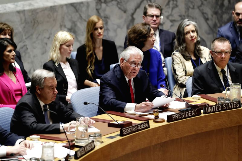 UNITED NATIONS, April 29, 2017 - U.S. Secretary of State Rex Tillerson (C F) speaks during a ministerial meeting of the UN Security Council on the nuclear issue of the Korean Peninsular, at the UN ...