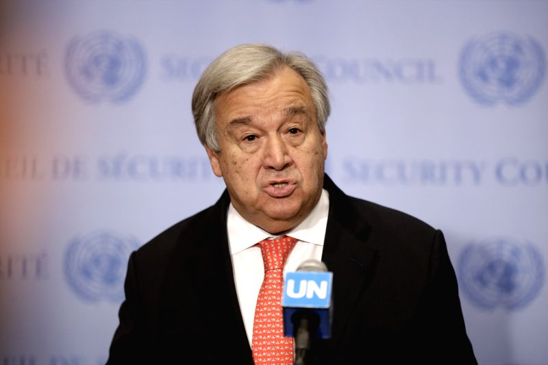 United Nations Secretary-General Antonio Guterres speaks to journalists during a press encounter at the UN headquarters in New York