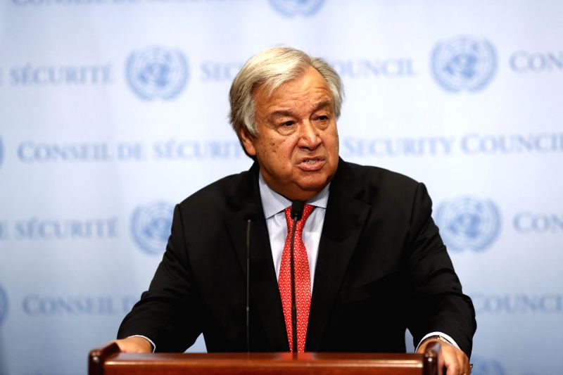 UNITED NATIONS, Aug. 10, 2018 - United Nations Secretary-General Antonio Guterres speaks to journalists on the appointment of Michelle Bachelet at the UN headquarters in New York, Aug. 10, 2018. The ...
