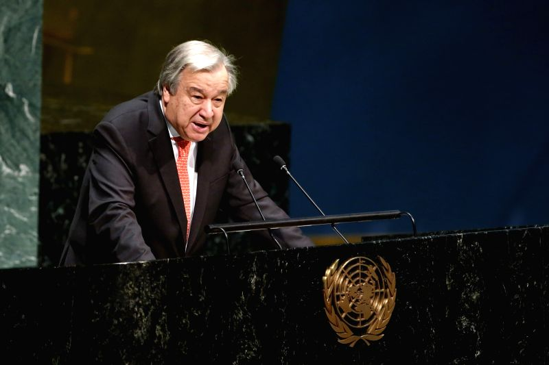 UNITED NATIONS, Feb. 22, 2019 (Xinhua) -- United Nations Secretary-General Antonio Guterres addresses the opening of the United Nations Association of the United States of America (UNA-USA) 2019 Global Engagement Summit at the UN headquarters in New