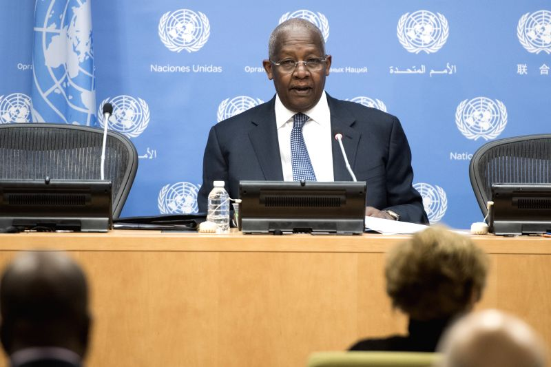 United Nations General Assembly President Sam Kahamba Kutesa addresses a press conference at the UN headquarters in New York.