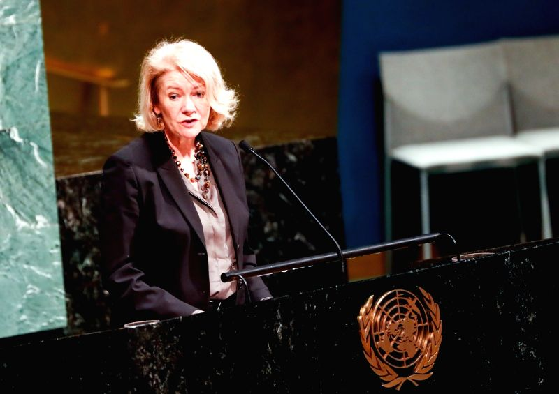 UNITED NATIONS, Jan. 31, 2018 - Alison Smale, Under-Secretary-General for Global Communications at the UN Department of Public Information, speaks during a ceremony marking the International Day of ...