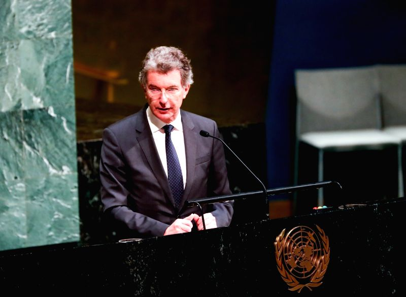 UNITED NATIONS, Jan. 31, 2018 - Christoph Heusgen, German Permanent Representative to the United Nations, speaks during a ceremony marking the International Day of Commemoration in Memory of the ...