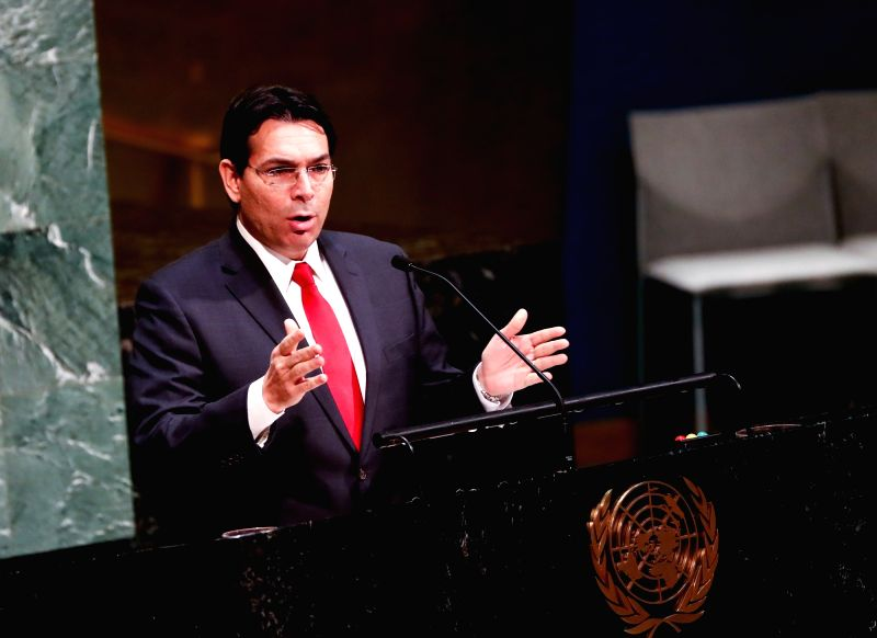 UNITED NATIONS, Jan. 31, 2018 - Danny Danon, Israeli Permanent Representative to the United Nations, speaks during a ceremony marking the International Day of Commemoration in Memory of the Victims ...