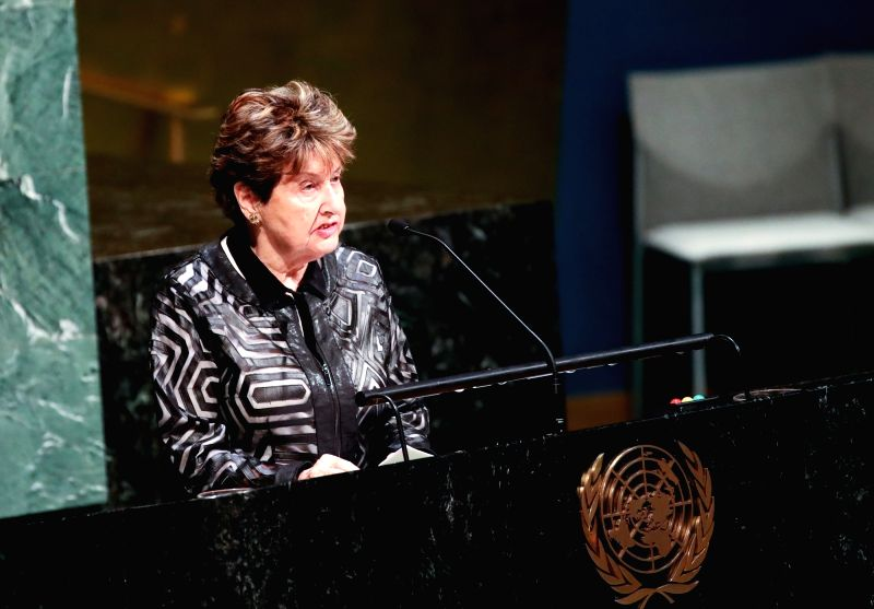 UNITED NATIONS, Jan. 31, 2018 - Eva Lavi, a Holocaust survivor, speaks during a ceremony marking the International Day of Commemoration in Memory of the Victims of the Holocaust at the UN ...