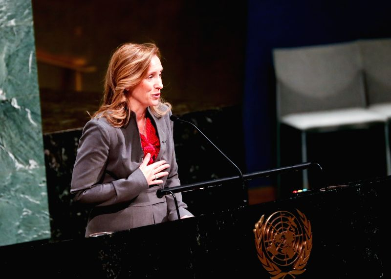 UNITED NATIONS, Jan. 31, 2018 - Kelley Eckels-Currie, United States Representative to the Economic and Social Council of the United Nations, speaks during a ceremony marking the International Day of ...