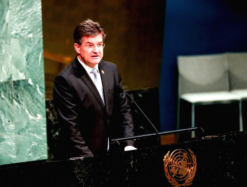 UNITED NATIONS, Jan. 31, 2018 - President of the UN General Assembly Miroslav Lajcak speaks during a ceremony marking the International Day of Commemoration in Memory of the Victims of the Holocaust ...