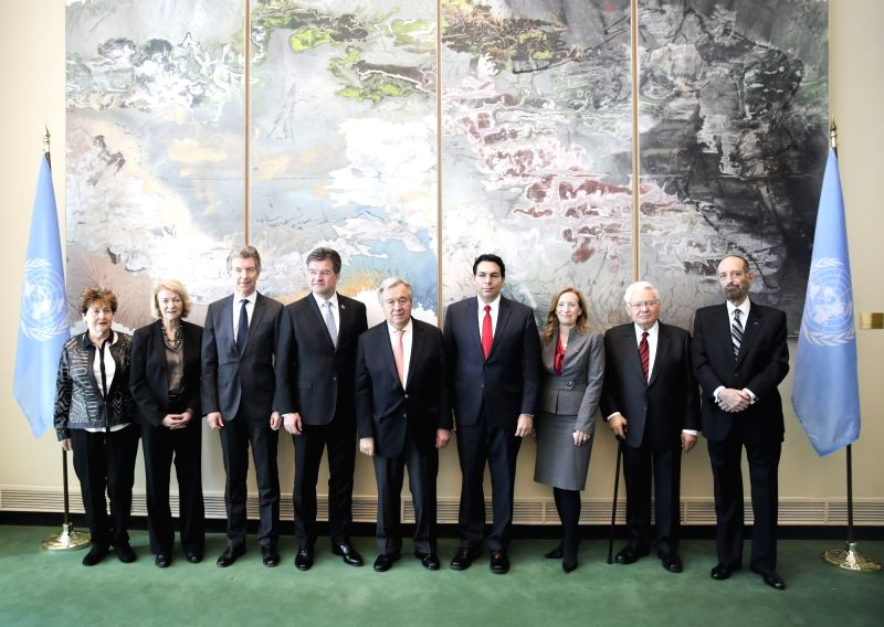 UNITED NATIONS, Jan. 31, 2018 - United Nations Secretary-General Antonio Guterres (5th L) and President of the UN General Assembly Miroslav Lajcak (4th L) pose for photos with invited guests before a ...