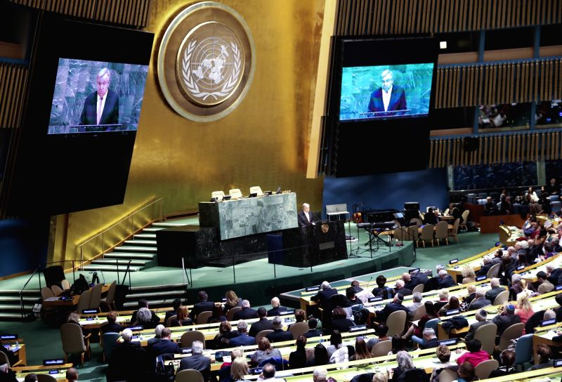 UNITED NATIONS, Jan. 31, 2018 - United Nations Secretary-General Antonio Guterres (C) speaks during a ceremony marking the International Day of Commemoration in Memory of the Victims of the Holocaust ...