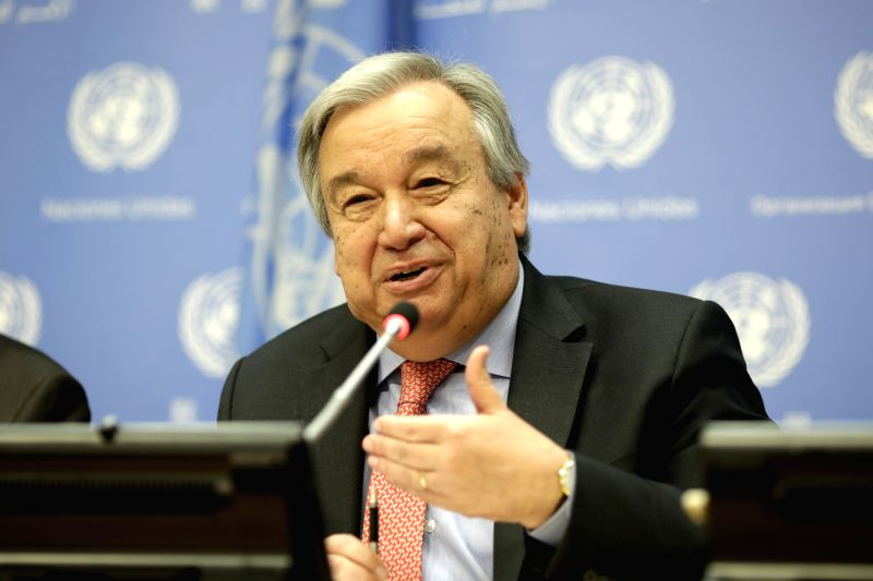 UNITED NATIONS, July 12, 2018 - United Nations Secretary-General Antonio Guterres holds a press conference at the UN headquarters in New York, July 12, 2018. Antonio Guterres on Thursday stressed the ...