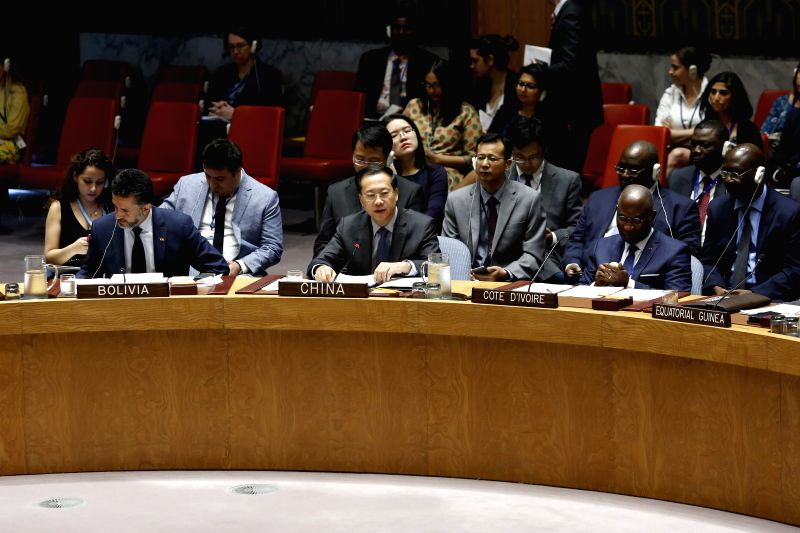UNITED NATIONS, July 13, 2018 - China's Permanent Representative to the United Nations Ma Zhaoxu (C, Front) speaks after the Security Council adopted a resolution to impose an arms embargo on South ...