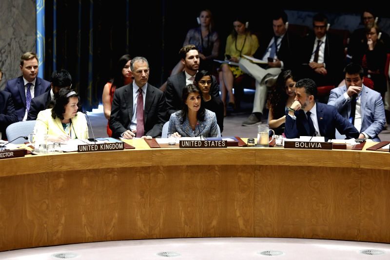 UNITED NATIONS, July 13, 2018 - U.S. Ambassador to the United Nations Nikki Haley (C, Front) speaks before the Security Council voting on a resolution to impose an arms embargo on South Sudan at the ...