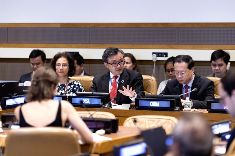 UNITED NATIONS, July 17, 2018 - Liu Zhenmin (C), United Nations Under-Secretary-General for Economic and Social Affairs, speaks during the High-level Side Event Addressing Unbalanced and Inadequate ...