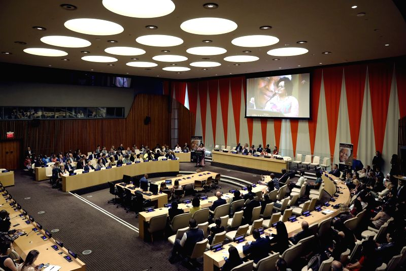 UNITED NATIONS, July 18, 2018 - Photo taken on July 18, 2018 shows a United Nations General Assembly event on the occasion of Mandela Day at the UN headquarters in New York. UN Secretary-General ...