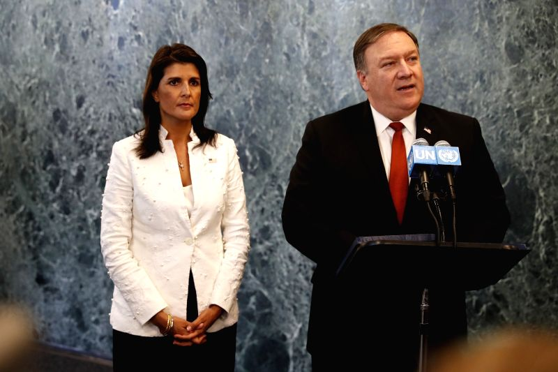 UNITED NATIONS, July 20, 2018 - U.S. Secretary of State Mike Pompeo (R), accompanied by U.S. Ambassador to the United Nations Nikki Haley, speaks to reporters at the UN headquarters in New York, July ...