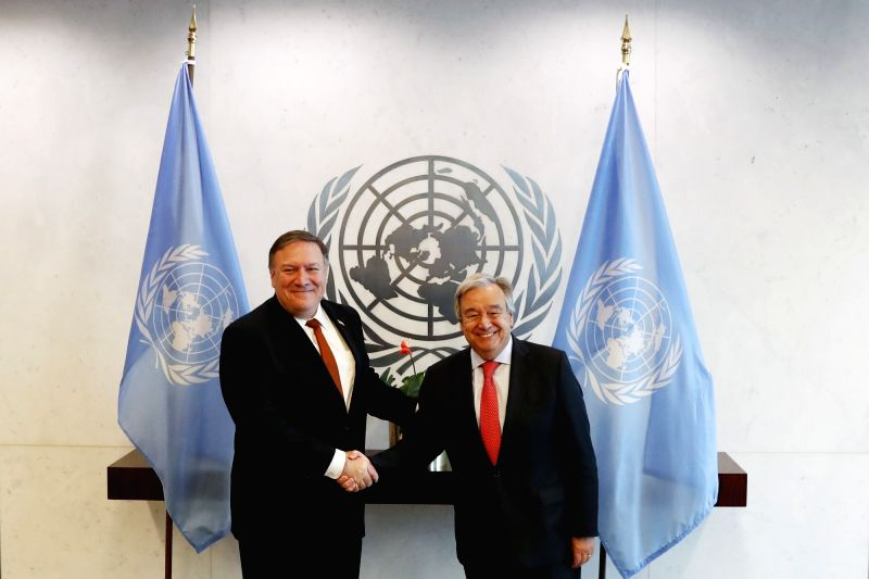 UNITED NATIONS, July 20, 2018 - United Nations Secretary-General Antonio Guterres (R) meets with U.S. Secretary of State Mike Pompeo, at the UN headquarters in New York, July 20, 2018.